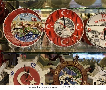 Turkey, Kemer, 17,07,2015 Souvenir Watch With Turkey's Views And Symbols In The Souvenir Shop
