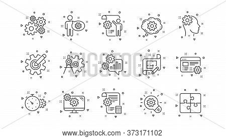Puzzle, Dividers Tool And Architect Plan. Engineering Line Icons. Engineer Linear Icon Set. Geometri