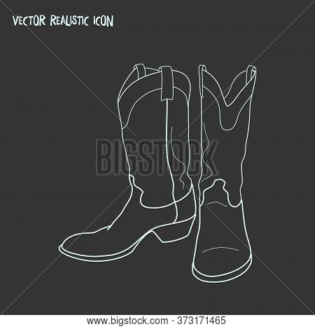 Cowboy Boots Icon Line Element. Vector Illustration Of Cowboy Boots Icon Line Isolated On Clean Back