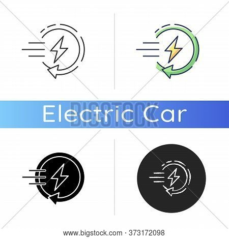 Fast Charging Icon. Linear Black And Rgb Color Styles. Quick Charge Technology, Electric Vehicle Rec