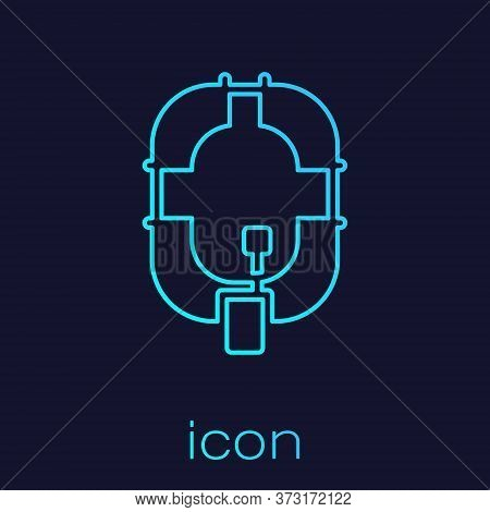 Turquoise Line Inflatable Boat Icon Isolated On Blue Background. Rafting Boat. Water Sports, Extreme