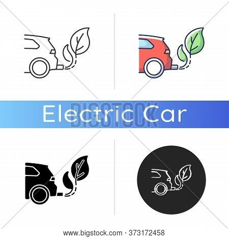 Zero Tailpipe Emissions Icon. Linear Black And Rgb Color Styles. Eco Friendly Vehicle Using Biofuel.
