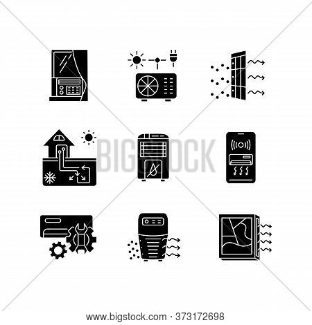 Air Conditioning Technologies Black Glyph Icons Set On White Space. Different Air Cooling Systems An