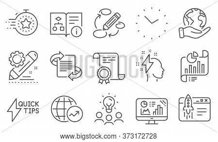 Set Of Education Icons, Such As Marketing, Start Business. Diploma, Ideas, Save Planet. World Statis