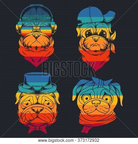 Pug Dog Head Collection Retro Vector Illustration For Your Company Or Brand