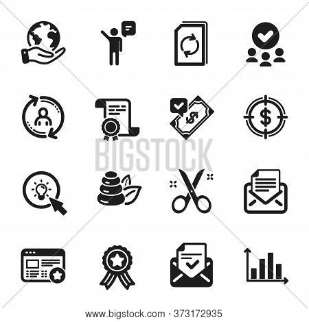 Set Of Business Icons, Such As Favorite, Approved Mail. Certificate, Approved Group, Save Planet. Ma