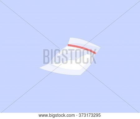 Cocaine Bag Semi Flat Rgb Color Vector Illustration. Heroin Addiction, Synthetic Drugs Abuse, Narcot
