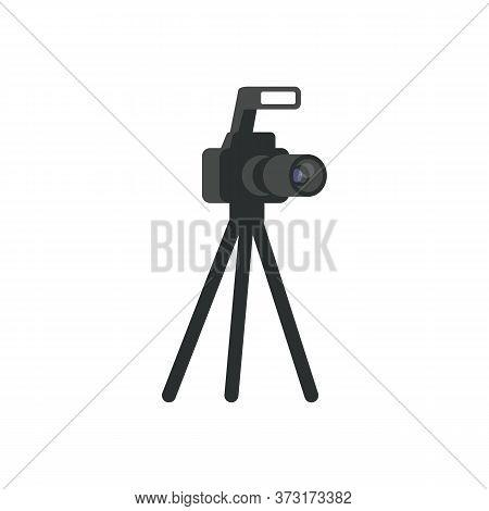Dslr Camera Semi Flat Rgb Color Vector Illustration. Digital Photo Camera On Small Tripod Isolated C