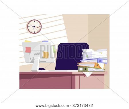 Stressful Work Semi Flat Vector Illustration. Unorganized Workplace 2d Cartoon Interior For Commerci