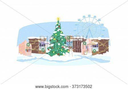 Christmas Market Semi Flat Vector Illustration. Town Square With Festive Stalls 2d Cartoon Landscape