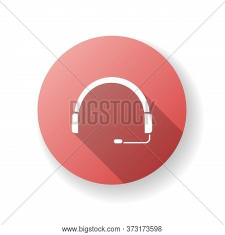 Headset Red Flat Design Long Shadow Glyph Icon. Headphones For Operator. Online Customer Support Ser