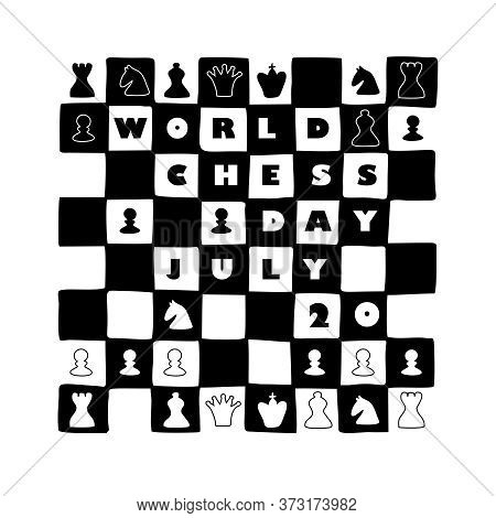 World Chess Day. International Chess Day. July 20. Holiday Greeting Poster. Chess Background. Black