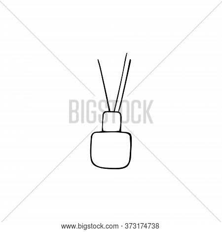 Aromatherapy Reed Diffuser. Hand Drawn Doodle Vector Illustration.