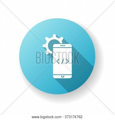 Mobile Software Development Blue Flat Design Long Shadow Glyph Icon. Programming Application For Gad