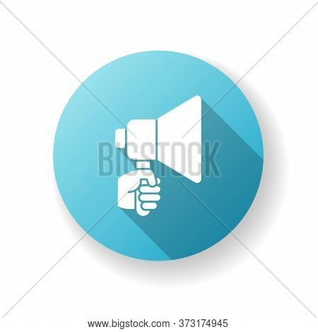 Hand With Megaphone Blue Flat Design Long Shadow Glyph Icon. Bullhorn For Announcement. Public Propa