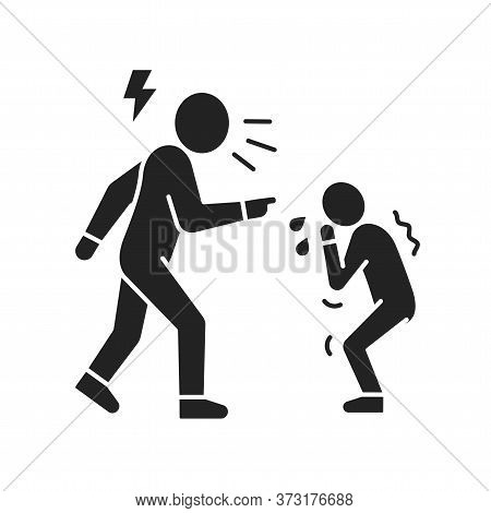 Parent Bullying Kid Black Glyph Icon. Human Rights. Child Abuse. Violence In Family. Sign For Web Pa