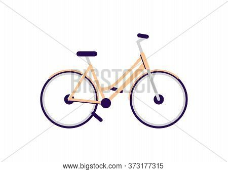 Cruiser Bike Semi Flat Rgb Color Vector Illustration. Common Transport For Casual Cyclists. Bicycle