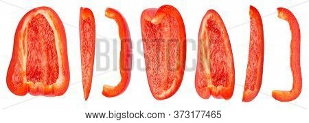 Isolated Pepper. Set Of Fresh Sliced Bell Pepper Isolated On White Background With Clipping Path