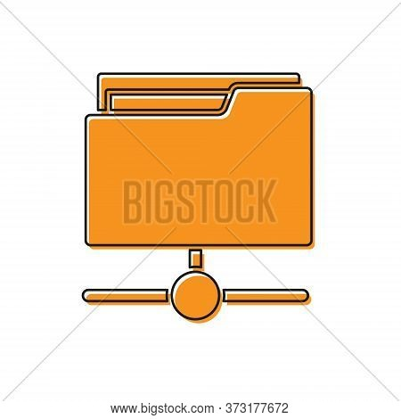 Orange Ftp Folder Icon Isolated On White Background. Software Update, Transfer Protocol, Router, Tea