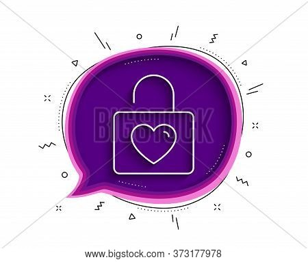 Locker With Heart Line Icon. Chat Bubble With Shadow. Love Symbol. Valentines Day Or Wedding Sign. T