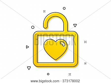 Love Symbol. Locker With Heart Icon. Valentines Day Or Wedding Sign. Yellow Circles Pattern. Classic
