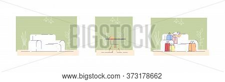Home Furniture Semi Flat Vector Illustrations Set. Living Room And Kitchen Interior Decor. Couch, Co