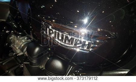 Bordeaux , Aquitaine / France - 06 20 2020 : Triumph Bike Detail Sign Logo On Fuel Tank
