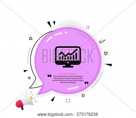 Statistics Icon. Quote Speech Bubble. Data Analysis Sign. Business Strategy. Quotation Marks. Classi