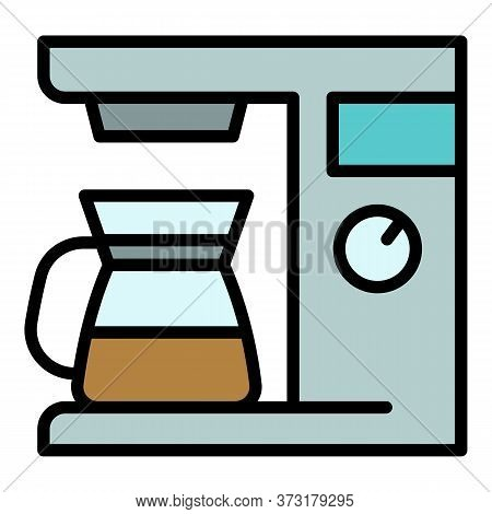 Home Coffee Maker Icon. Outline Home Coffee Maker Vector Icon For Web Design Isolated On White Backg