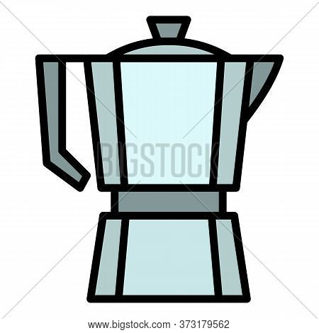 Steel Coffee Pot Icon. Outline Steel Coffee Pot Vector Icon For Web Design Isolated On White Backgro
