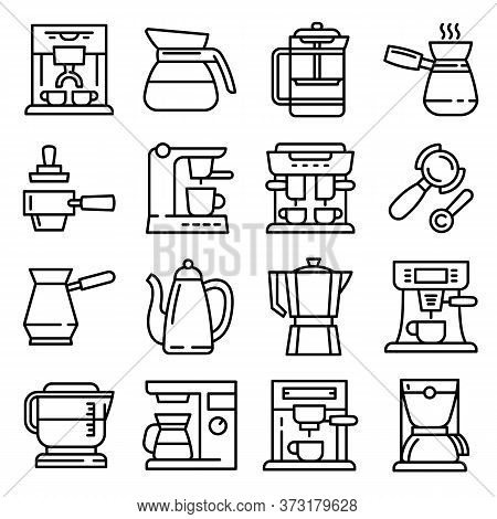 Coffee Maker Icons Set. Outline Set Of Coffee Maker Vector Icons For Web Design Isolated On White Ba