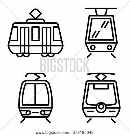 Tram Car Icons Set. Outline Set Of Tram Car Vector Icons For Web Design Isolated On White Background