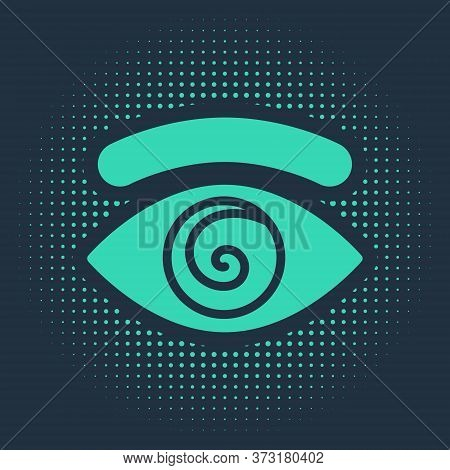 Green Hypnosis Icon Isolated On Blue Background. Human Eye With Spiral Hypnotic Iris. Abstract Circl
