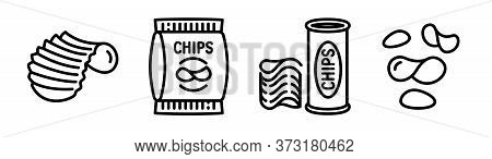 Chips Potato Icons Set. Outline Set Of Chips Potato Vector Icons For Web Design Isolated On White Ba