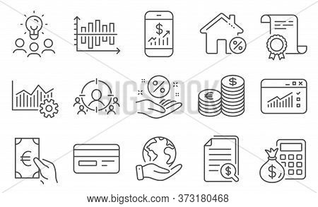 Set Of Finance Icons, Such As Credit Card, Finance Calculator. Diploma, Ideas, Save Planet. Web Traf