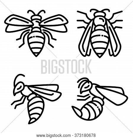 Wasp Icons Set. Outline Set Of Wasp Vector Icons For Web Design Isolated On White Background