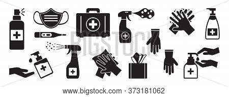 Disinfection. Hand Hygiene. Set Of Hand Sanitizer Bottles, Washing Gel, Spray, Liquid Soap, Wipes, F