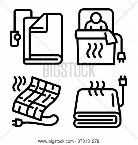 Electric Blanket Icons Set. Outline Set Of Electric Blanket Vector Icons For Web Design Isolated On