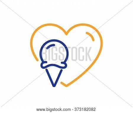 Ice Cream Love Line Icon. Vanilla Sundae Cone Sign. Frozen Summer Dessert Symbol. Colorful Thin Line