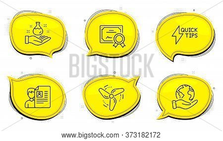 Wind Energy Sign. Diploma Certificate, Save Planet Chat Bubbles. Chemistry Lab, Job Interview And Qu