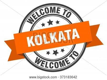 Kolkata Stamp. Welcome To Kolkata Orange Sign