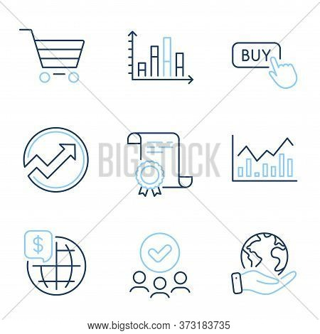 World Money, Market Sale And Buy Button Line Icons Set. Diploma Certificate, Save Planet, Group Of P