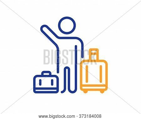 Baggage Reclaim Line Icon. Airport Transfer Sign. Flight Bags Symbol. Colorful Thin Line Outline Con