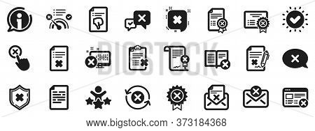 Set Of Decline Certificate, Cancellation And Dislike Icons. Reject Or Cancel Icons. Refuse, Reject S