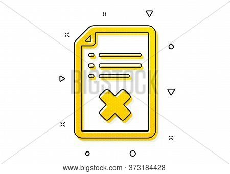 Decline Document Sign. Reject File Icon. Delete File. Yellow Circles Pattern. Classic Reject File Ic