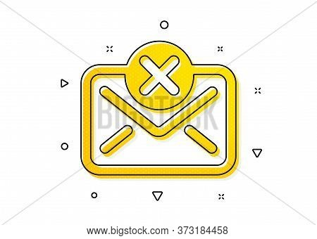 Delete Message Sign. Reject Mail Icon. Decline Web Letter. Yellow Circles Pattern. Classic Reject Ma