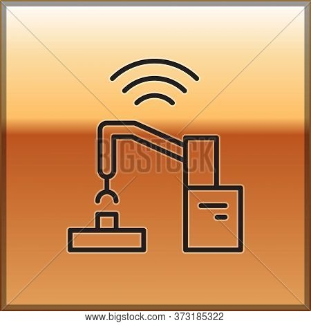 Black Line Industrial Machine Robotic Robot Arm Hand Factory Icon Isolated On Gold Background. Indus