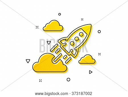 Launch Project Sign. Startup Rocket Icon. Innovation Symbol. Yellow Circles Pattern. Classic Startup