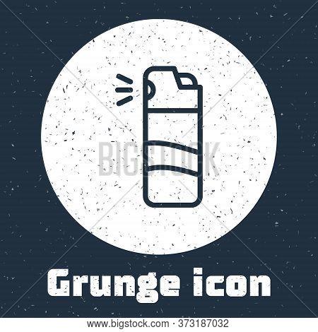 Grunge Line Pepper Spray Icon Isolated On Grey Background. Oc Gas. Capsicum Self Defense Aerosol. Mo