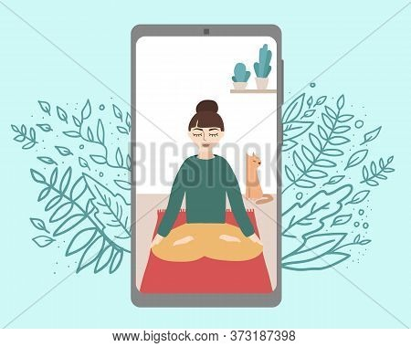 Women Sitting In Yoga Pose On Phone Display. Vector Stock Illustration Of Online Yoga. Woman Doing Y
